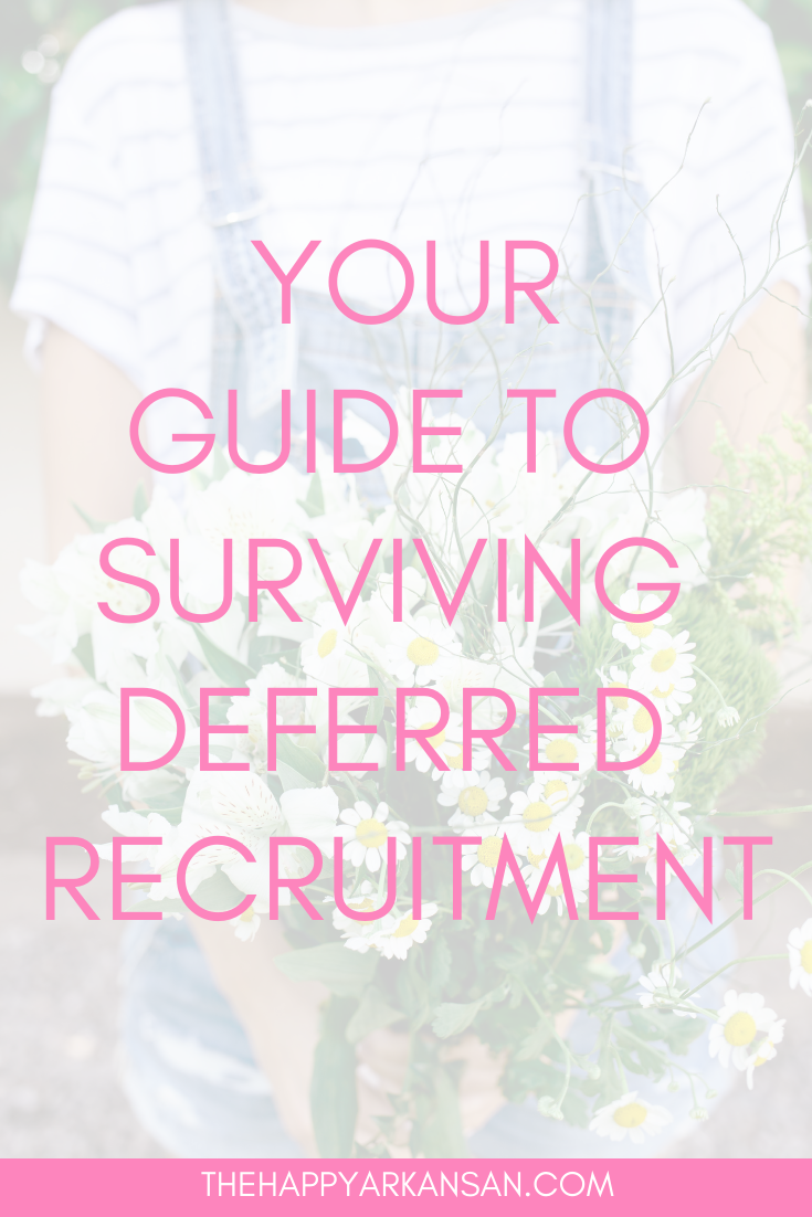 Your Guide To Surviving Deferred Recruitment | Does your school practice spring formal recruitment? If so, I have some tips you will probably love to hear. I joined my sorority during spring formal recruitment so I know about the unique challenges that potential new members face, but I also know about the overall fears that people have during any kind of formal recruitment. Click through to learn more so you can crush deferred recruitment and find the sorority of your dreams.