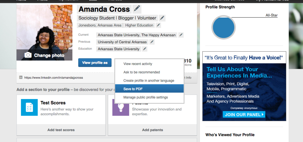 How to save your profile as a PDF. Go to your profile, click the arrow beside