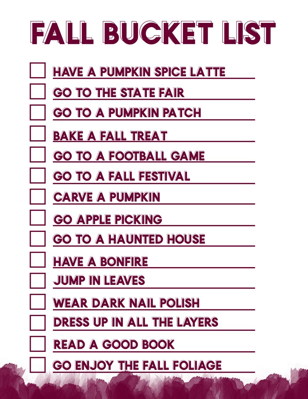 fall bucket list college