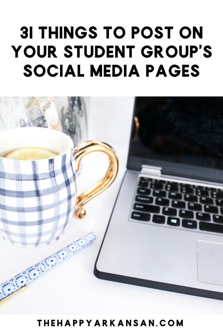 31 Things To Post On Your Student Group's Social Media Pages | Posting on social media is so important for student groups across the country. Click through for 31 things you can post on social media no matter what kind of group you have!