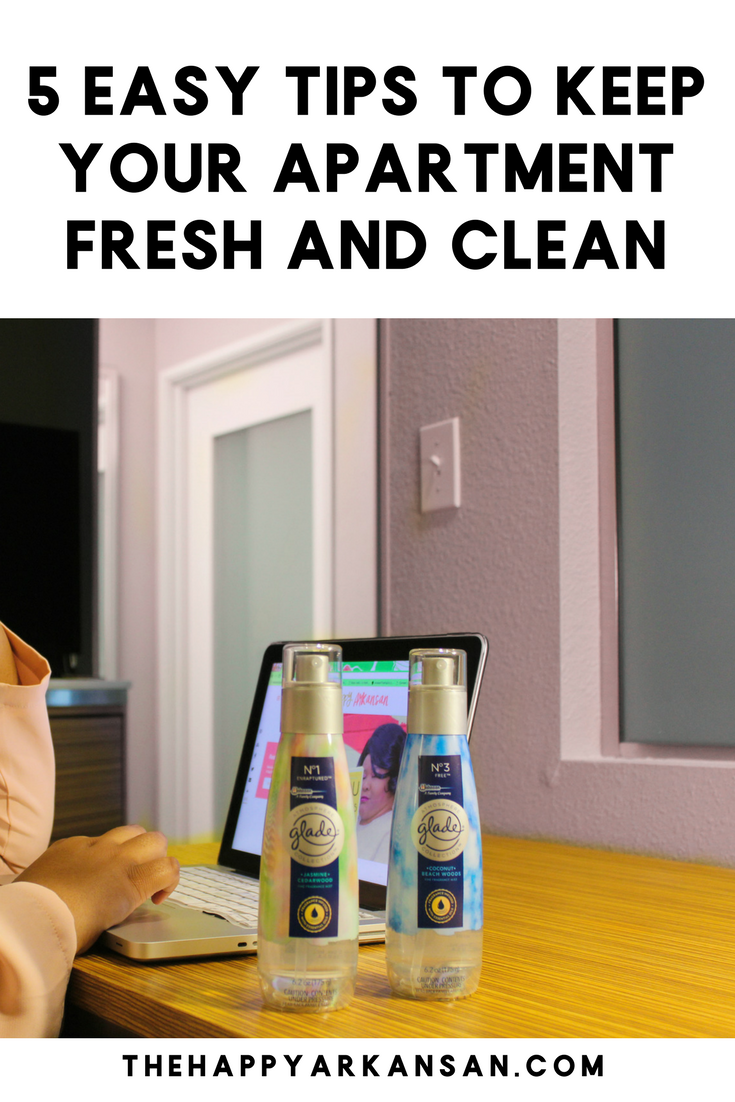 #AD: 5 Easy Tips To Keep Your Apartment Fresh And Clean | Are  you struggling to keep your apartment fresh and clean? Today on the blog I am breaking down five easy tips you can follow if you want to keep your apartment clean for the spring. #GladeFineFragranceMist #CollectiveBias