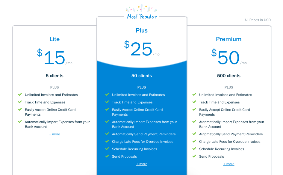 Freshbooks Pricing | Freelance Tools