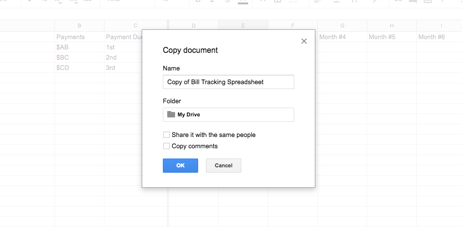 Google Drive Bill Tracking Spreadsheet