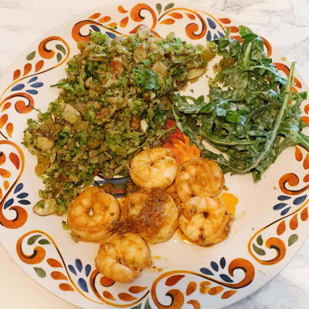 Gobble Review: Honey-Harissa Shrimp with Cauliflower and Broccoli Couscous & Arugula Salad With Lemon-Tahini Dressing