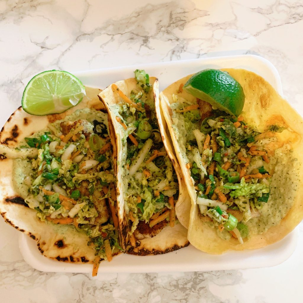 Gobble Review: Chimichurri Fish Tacos with Cilantro Hummus & South American Slaw