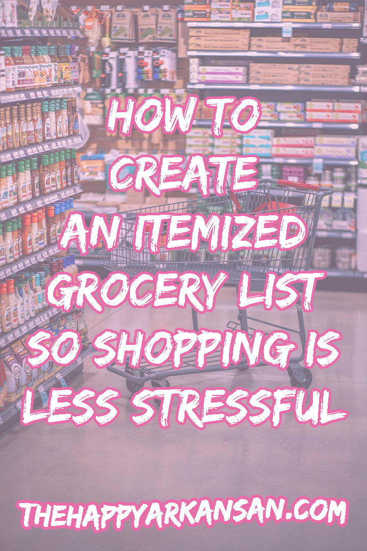 How To Create An Itemized Grocery List So Shopping Is Less Stressful | Does grocery shopping stress you out? Have you ever thought about creating an itemized grocery list so you can shop with ease? Check out today's post for a step-by-step tutorial on how to create a grocery list that makes shopping easier. #Budgeting #Shopping #GroceryShopping #LifeTips #Adulting