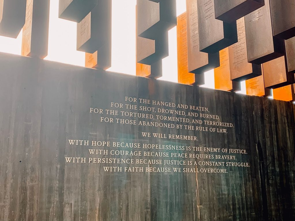 A wall at The National Memorial For Peace And Justice remembering those who were lynched.