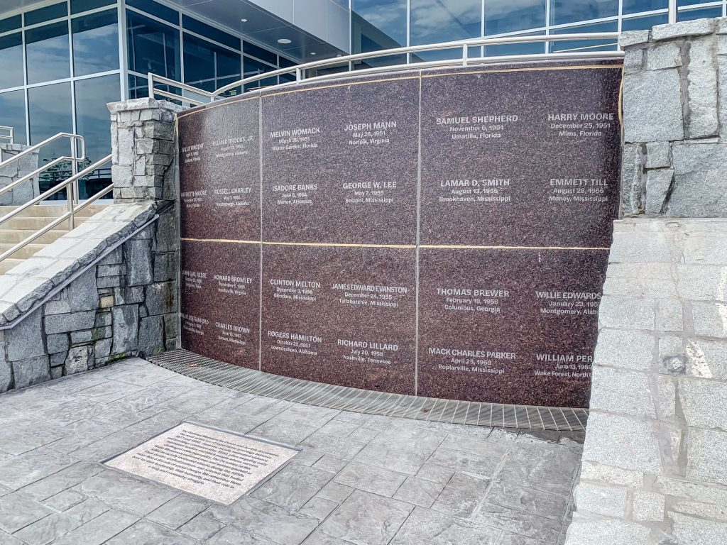 A memorial at The Peace and Justice Memorial Center remembering those who were lynched after 1950.