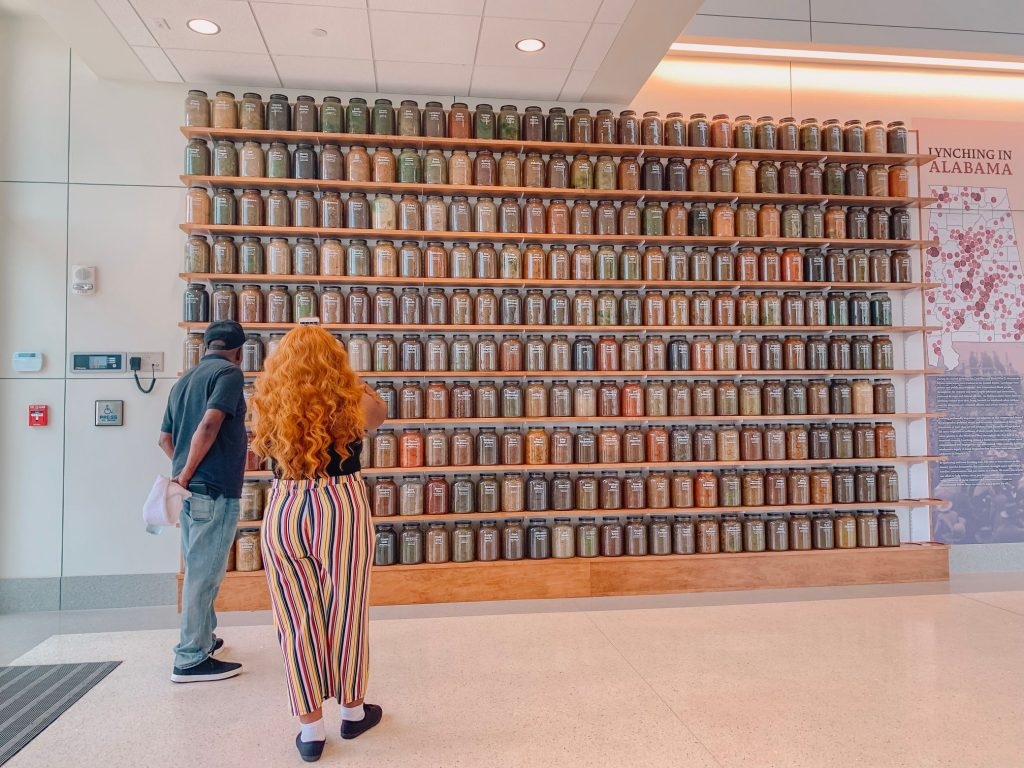 Part of EJI's soil collection remembering those who were lynched in Alabama at The Peace and Justice Memorial Center