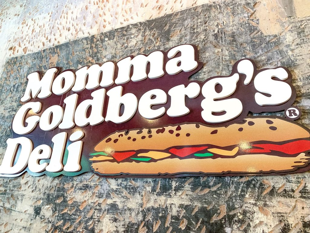 Momma Goldberg's Deli sign