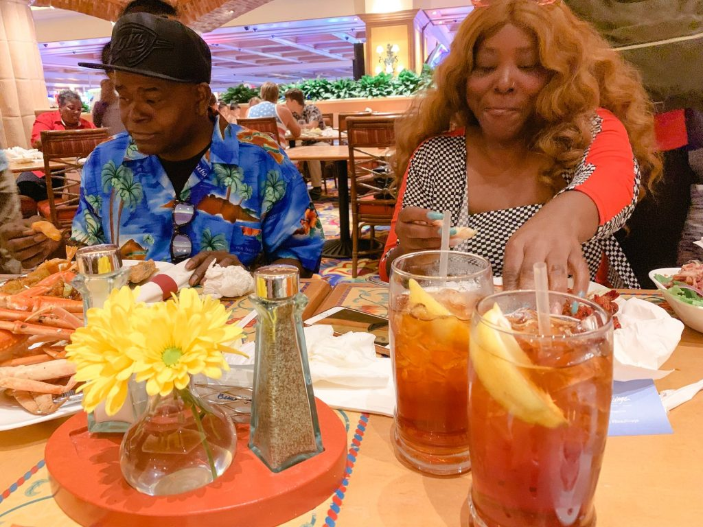 A picture of my parents eating at the Beau Rivage buffet.