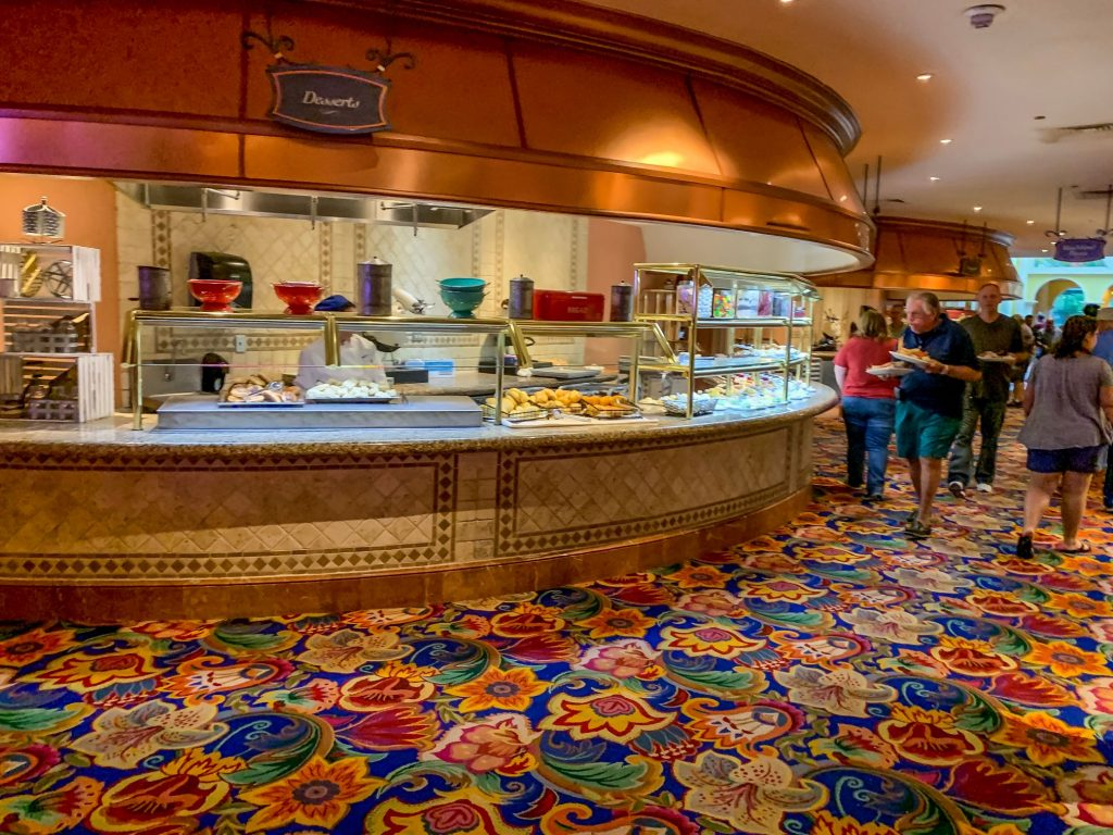 Dessert bar and random people at Beau Rivage's buffet